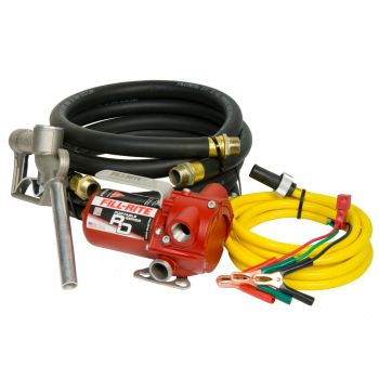 8 GPM 12V Portable Fuel Transfer Pump with Manual Nozzle, Discharge Hose, Suction Hose, and Power Cord