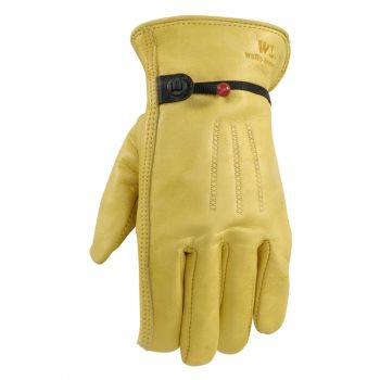 Men's Leather Work Gloves with Adjustable Wrist (Wells Lamont 1132)