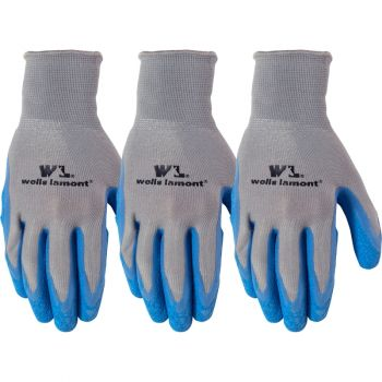 3 Pair Pack Latex Grip Work Gloves, Large (Wells Lamont 133LF)