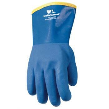 """12"""" Lined PVC Chemical Resistant Gloves, One Size (Wells Lamont 194)"""
