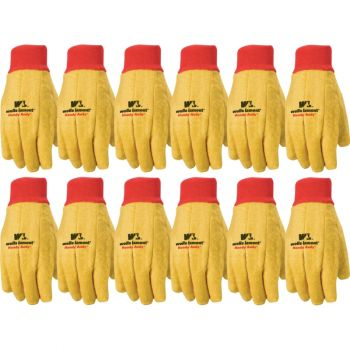 12 Pair Pack Handy Andy Cotton Fabric Chore Gloves, Standard Weight (Wells Lamont 412)