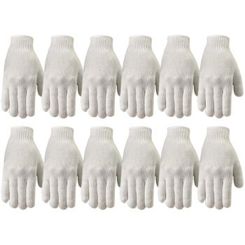 12 Pair Pack Polyester Work Gloves String Knit (Wells Lamont 513Z)
