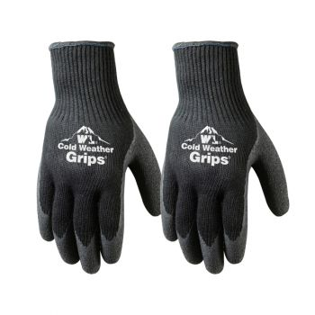 2 Pairs Cold Weather Latex Grip Winter Work Gloves (526N)