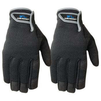 2 Pair Pack Synthetic Leather Palm Work Gloves (Wells Lamont 7700N)