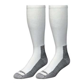 2 Pairs Men's White Boot Socks, Made in the USA, Men's Sizes 7-9.5 (Wells Lamont 9335MN)