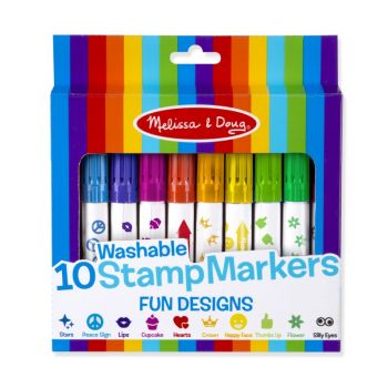 10 Washable Stamp Markers - Fun Designs