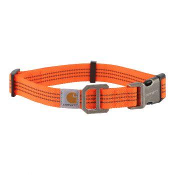 Carhartt Dog Collar, Hunter Orange / Brushed Nickel, Medium
