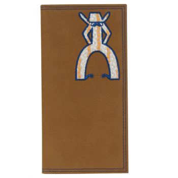 Hooey Punchy Tan Wallet Navy & Orange Embroidered Rodeo Logo