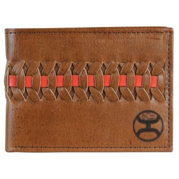 Hooey Red/Brown Interlaced Dark Brown Leather Bifold Wallet