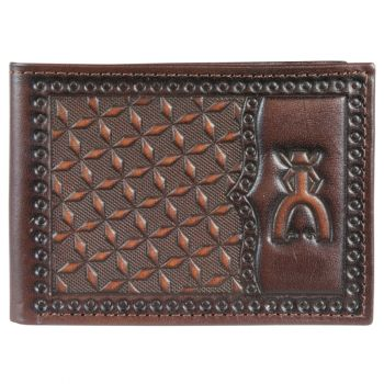 Hooey Punchy Chocolate Brown Geometic Tooling Leather Bifold Wallet