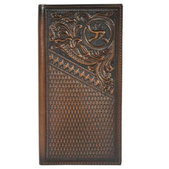 Hooey Tooled Leather Whipstitch Checkbook Wallet