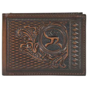 Hooey Western Roughy Logo Leather Tooled Bifold Wallet