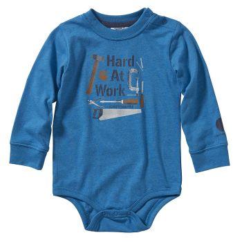 Boy's Long Sleeve Heather Bodyshirt, Blue Sapphire Heather (3M - 24M)