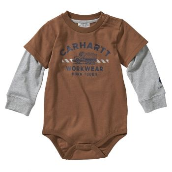 Boy's Long Sleeve Born Tough Bodyshirt, Carhartt Brown (3M - 24M)