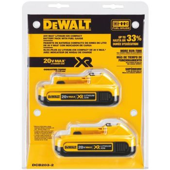 DEWALT 20V MAX Compact XR Lithium Ion Battery 2 pack