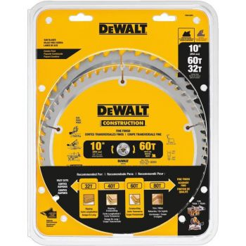 DEWALT DW 10-in 60T and 10-in 32T Saw Blade