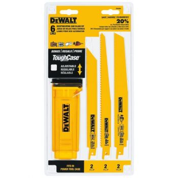 DEWALT Bi-Metal Reciprocating Saw Blade 6-Pack with Telescoping Case