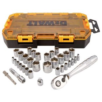 DEWALT 34 piece 1/4 In. & 3/8 In. Drive Socket Set