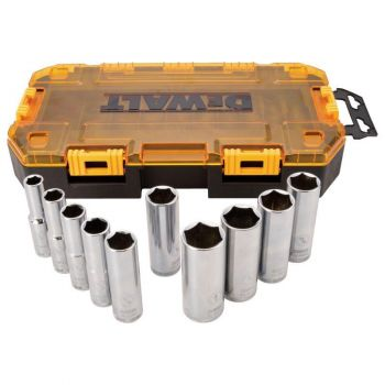 DEWALT 10 piece 1/2 In. Drive Deep Socket Set (SAE)