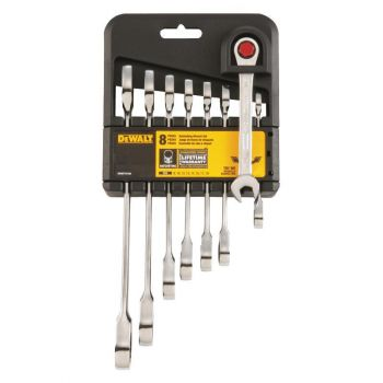 DEWALT 8 Piece Metric Ratcheting Combination Wrench Set